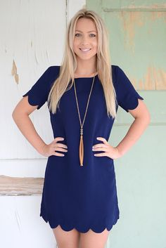 Sabella Scallop Dress- Navy