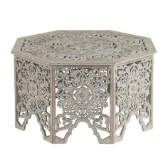 Coffee Table, Wood Octagon, With Floral Acanthus Engraving - Olivia & May, Gray Eclectic Coffee Tables, Natural Wood Coffee Table, Morrocan Coffee Table, Buy Coffee Table, Pedestal Side Table, Octagon Table, Eclectic Design, Eclectic Style, Interior Design