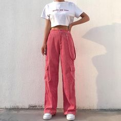 Cute Casual Outfits, Retro Outfits, Vintage Outfits, Vintage Clothing, Women's Clothing, Pink Trousers, Trousers Women, Pants For Women, Jeans Women