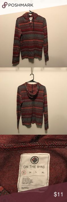 Aztec Pattern Pullover Red, black and gray Aztec patterned Pullover with hood. on the byas Shirts Sweatshirts & Hoodies
