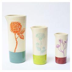 """Céramique de Flo, lot de 3 vases becs verseurs Collection """"Botanic"""" série #1"""