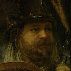 """The Night Watch"" ""Nachtwacht"" (""The Company of Frans Banning Cocq and Willem van Ruytenburch"") [Detail] (1642)  Detail: Jan Adriaensen Keijser By Rembrandt Harmenszoon van Rijn, from Leiden, Netherlands (1606-1669) oil on canvas; 379.5 x 435.5 cm; 149.4 x 178.5 in ..."