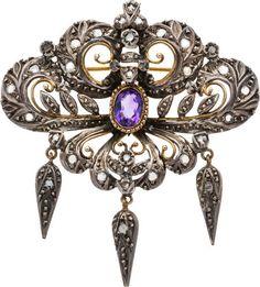 Amethyst, Diamond, Gold, Silver Brooch.