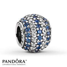 Pandora Charm Clear & Blue CZ Sterling Silver