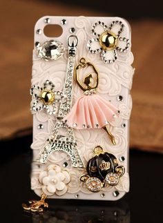 New 3D iPhone 5 4S 4G 3GS cover Eiffel Tower France Flower pearl girly case - Apple iPhone Cases - Phone Cases Rhinestones iPhone 5 4S 3GS Cases, Couple Necklaces / Wedding Rings