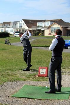 Groom and best man playing golf in the morning. Brotherly bonding :). C and G's wedding.  Caroline Puntis. #Pin By:Pinterest++ for iPad# Play Golf, Dawn, Our Wedding, Bond, Groom, Grooms