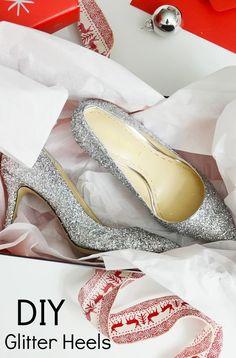 DIY SPARKLE PUMPS by @merricksart | Silver Glitter Heels | DIY Glitter Shoes