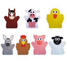 Fantoches Animais da Fazenda    ITENS: 7 FANTOCHES: pato, porco, galinha, burro, vaca, cavalo e ovelha. Valor referente ao kit com as 7 personagens.    DIMENSÕES: 25 x 30 cm, em média, cada.  MODELO: Fantoche de mão. Movimenta os braços, não movimenta a boca.  MATERIAL: Feltro e linha. Pode haver...
