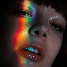 Rainbow Photography: Low budget hack for special portrait photos. Inspiration for your next shoot. Human Reference, Photo Reference, Drawing Reference, Dark Portrait, Portrait Lighting, Color Portrait, Rainbow Photography, Face Photography, Art Photography Portrait