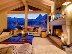 Warm and inviting living room in this Switzerland vacation rental! Tons of hygge.