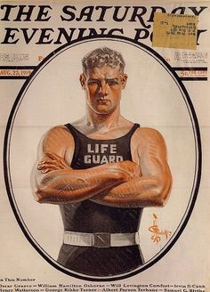The Saturday Evening Post, August 1919, life guard cover art by J. C. Leyendecker.