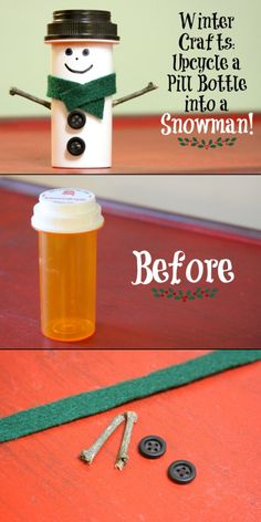 Upcycle Pill Bottles With These 22 Ideas DIY - Snowman Made With Empty Pill Bottle So cute! I have sooooo many old pill bottles laying around that I've been meaning to recycle. Now's my chance! I could make a bunch this summer and have them ready for Chr Diy Snowman Decorations, Snowman Crafts, Christmas Projects, Kids Christmas, Homemade Christmas, Holiday Crafts, Christmas Ornaments, Snowman Wreath, Christmas Snowman