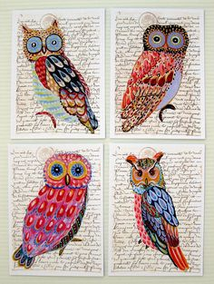 Whimsical Owls four prints of an original paintings 5 by irinashop, $30.00