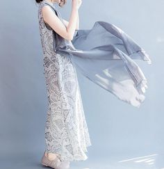 Cotton and linen long sleeveless dress gray Single by MaLieb