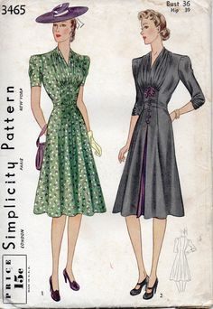 Simplicity 3465 1940s Misses Day Dress Pattern V Neck Flared Skirt Fullness at Bodice womens vintage sewing pattern by mbchills