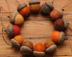Red Felted Acorns or Acorn Christmas Ornaments by StoneHouseCrafts