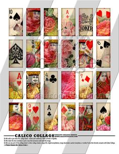 NEW Playing Cards and Roses  Digital Collage by calicocollage, $3.75