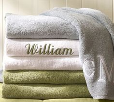Shop Pottery Barn for large and oversize beach towels in fun colors and styles. Find personalized beach towels and add your personal touch to summertime fun! Large Beach Towels, Custom Beach Towels, Oversized Beach Towels, Monogram Towels, Applique Monogram, Pool Furniture, Bath Sheets, Bath Linens, Pool Towels