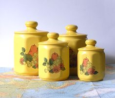yellow kitchen | Cheery Yellow Ceramic Kitchen Canisters Set of 4 ...