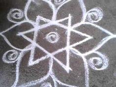 Simple star kolam -rangoli design - free hand lines - YouTube