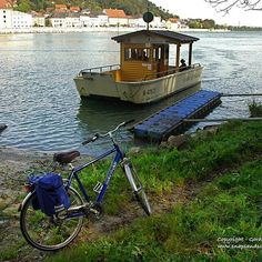 A ferry across the Danube designed especially for cyclists on the Danube Cycle Path. The crossing costs 2