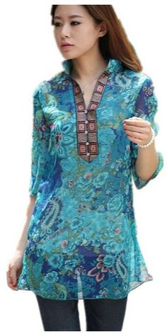 Vintage Floral Print Casual Slim Blouse Shirt #WomensFashion - AThriftyMom