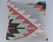 Embroidered Handwoven Vintage Tribal Turkish Kilim Pillow