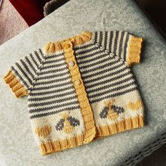 Original Pattern: Little Coffee Bean Cardigan Knitter Extraordinaire: Tracey (Ravelry ID) Mods: Added a fair isle bee design, and text to the back of the