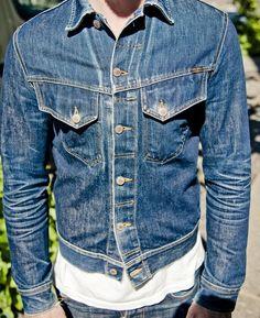 Fancy - Conny Dry Jacket by Nudie Jeans Denim Boots, Denim Jacket Men, Denim Jeans Men, Denim Jackets, Mens Casual Jeans, Men Casual, Nudie Jeans, Levis, Love Jeans