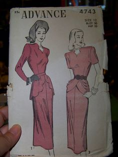 "Advance 4743 -- Dress with scalloped pelpum or front drape and shaped neckline, 1947. Bust 30, altered to 34 view 1 will require 3 1/2 yds of 45"" fabric or 2 5/8 60""; view 2 will require3 14 (45) or 3 1/8 (60"")"