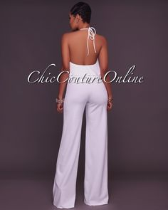 Chic Couture Online - Isla Halter Neck Off-White Jumpsuit, (http://www.chiccoutureonline.com/isla-halter-neck-off-white-jumpsuit/)
