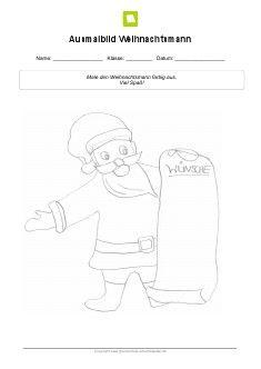 Kostenloses Arbeitsblatt: Ausmalbild Weihnachtsmann