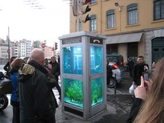 fish tank phone booth but with projected light