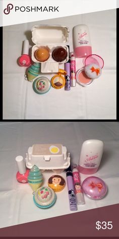 Another Collection of the Cutest K-Beauty Products The parade of adorable K-beauty products never ends..[by brand]: Holika Holika: Neon Beam Nails in Momo Pink ($4), Dessert Time Lip Balm in Lemon Cupcake ($6); TonyMoly: Egg Pore Shiny Skin Soap ($9),  Luminous Goddess Aura Beam ($16); Shara Shara: Feminine Single Blusher in Warm Apricot ($7), Petit Friend Matte Lip Crayon in Neon Pink ($11), Triple Shine Color Shadow in Yellow Brown ($15); ddung Lovely Girl Mascara ($24); Recipe By Nature…