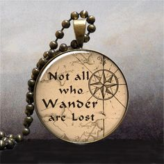 Not All Who Wander are Lost quote pendant, Lord of the Rings jewelry, quote necklace charm via Etsy