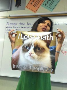 Grumpy Cat: I love math. It makes people cry. This is like the math teacher version of Mr. Branim. XD