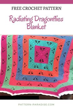Free Crochet Pattern: Radiating Dragonflies Throw | Pattern Paradise. This blanket is bright and happy with lots of dragonflies flying around. Make it in a solid color to let the dragonflies shine on their own!