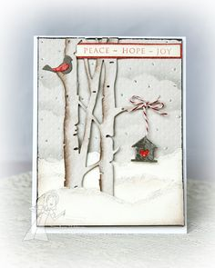 handmade card ... winter scene ... like the shading done to  Birch Tree Border die cut ... cute bird house hanging from a branch ... die cut red bird in the tree ... delightful!!  Change colors