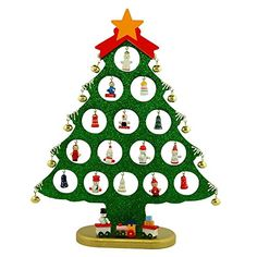 """12"""" Wooden Tabletop Christmas Tree with Miniature Christmas Ornaments BestPysanky http://www.amazon.com/dp/B00GP95JC4/ref=cm_sw_r_pi_dp_GuV.wb046VXVF"""