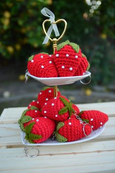 Stawberry Fruit Crochet Keychain Crochet Strawberry by Love2Bees