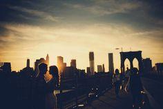 Shantel + Benjamin at the Brooklyn Bridge, as seen on www.mercinewyork.com/blog, a chic and stylish blog for fashionable brides