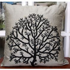 Silver Tree Of Life - Throw Pillow Covers - 18x18 Inches Silk Pillow Cover with Bead Embroidery