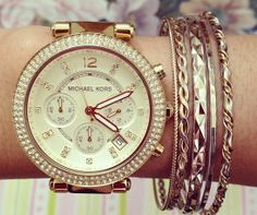 Michael Kors parker gold-tone stainless steel watch <3 #MK5354