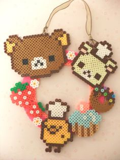 Rilakkuma and Sweets Door / Wall Wreath perler beads by KawaiiLittlePresents