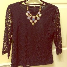 NWT! Adrianna Papell lace top NWT Adrianna Papell black lace top. See through 3/4 length lace sleeves, the rest of the top is lined. Hidden zipper in the back. Would be adorable for work, or a great choice for a night out. Pictured necklace not included. Always open to offers!!  Adrianna Papell Tops