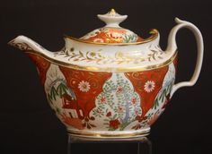 Early English Teapot, circa 1800-1820, with polychrome design, Chinese red and gilt.