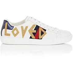 Gucci Women's New Ace Leather Sneakers (15.216.380 VND) ❤ liked on Polyvore featuring shoes, sneakers, white, metallic gold shoes, white lace up sneakers, white shoes, lace up sneakers and white low top sneakers