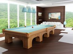 The beautiful and original light turquoise of the felt and accessories truly brightens up this game room