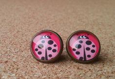 Lieveheersbeestje oorbellen bronzen oorbellen klein door NiteOwl15