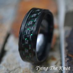8mm Black Ceramic w/ Green and Black Carbon by TyingTheKnot925